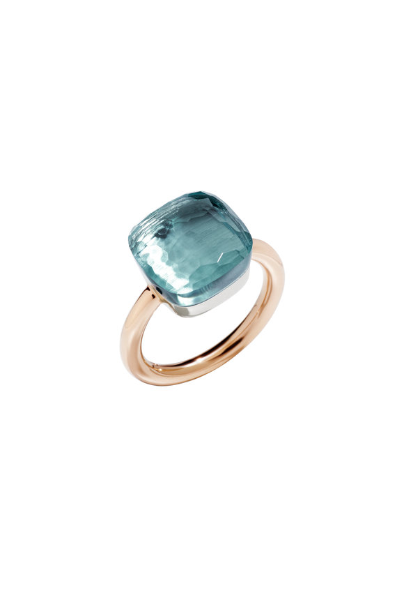 Pomellato Pink Gold Large Blue Topaz Ring