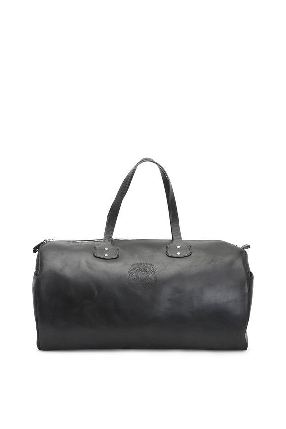 Ghurka Black Leather Duffel Bag