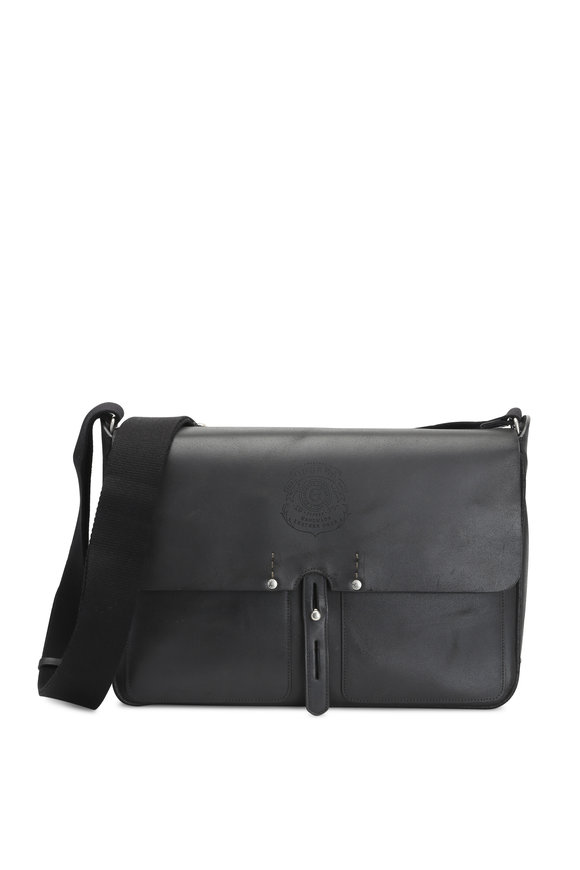 Ghurka Cross Black Leather Messenger Bag