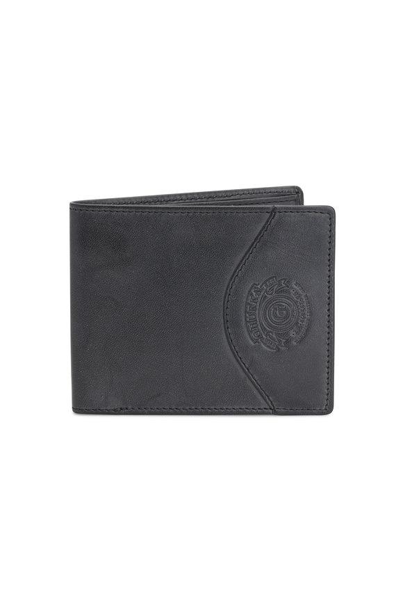 Ghurka Black Leather Slim Classic Bi-Fold Wallet