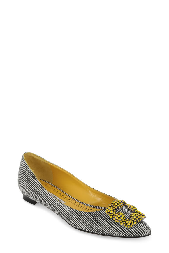 Manolo Blahnik Hangisi Black Striped Leather & Yellow Brooch Flat