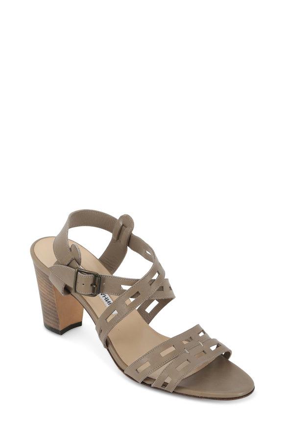 Manolo Blahnik Essa Gray Perforated Leather Sandal, 70mm