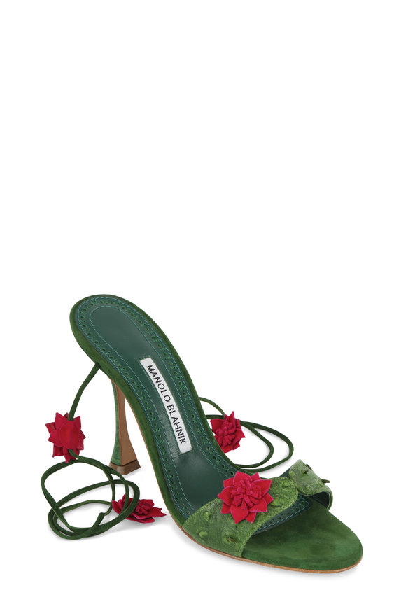 Manolo Blahnik Green Cactus Leather Lace-Up Sandal, 105mm