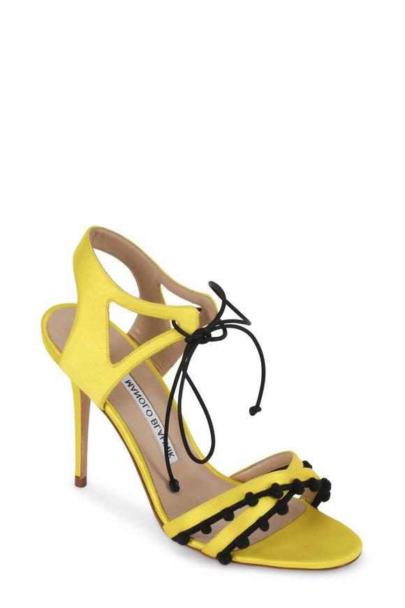 Manolo Blahnik Esparra Yellow Satin Ankle Lace Sandal, 105mm