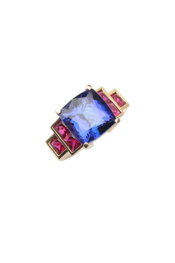 Frank Ancona 18K Yellow Gold Tanzanite & Ruby Ring
