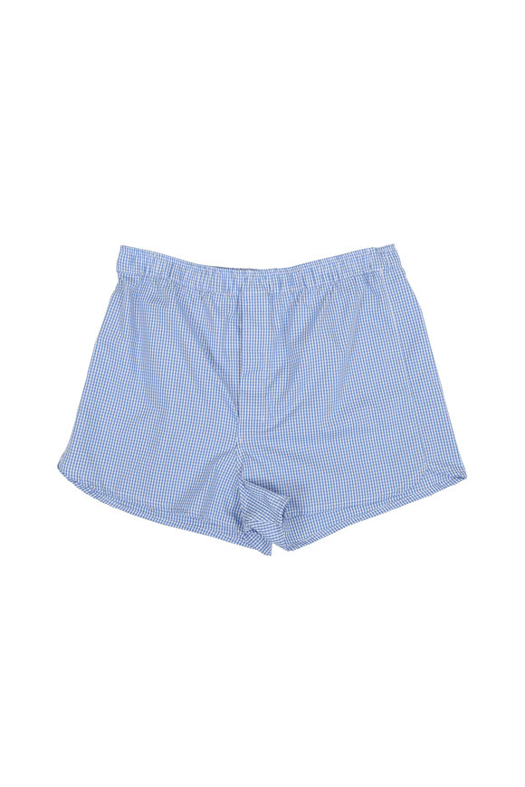 Derek Rose Light Blue Gingham Modern Fit Boxers