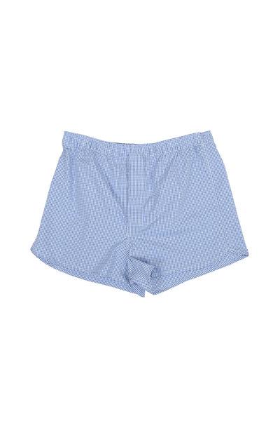 Derek Rose - Light Blue Gingham Modern Fit Boxers