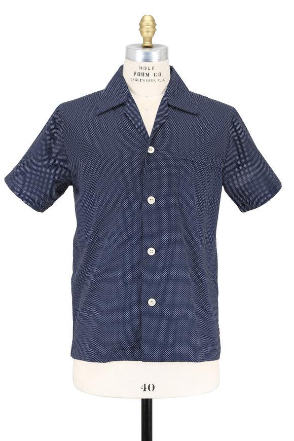 Derek Rose Navy Blue Pin Dot Short Sleeve Pajama Set