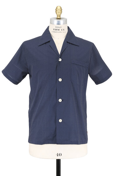 Derek Rose - Navy Blue Pin Dot Short Sleeve Pajama Set