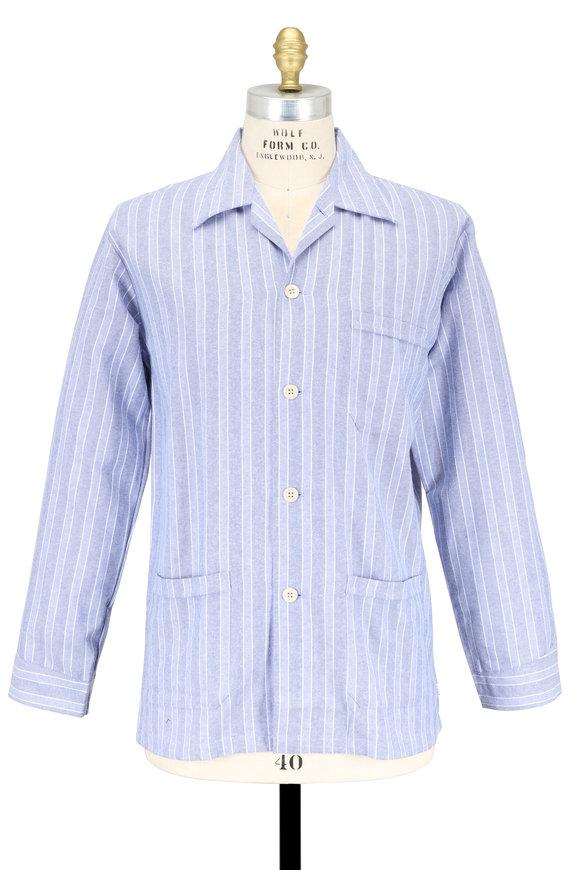 Derek Rose Light Blue Striped Flannel Pajamas
