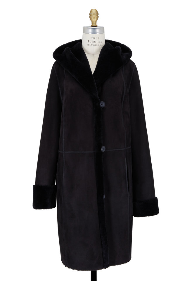 Black Shearling Hooded Coat