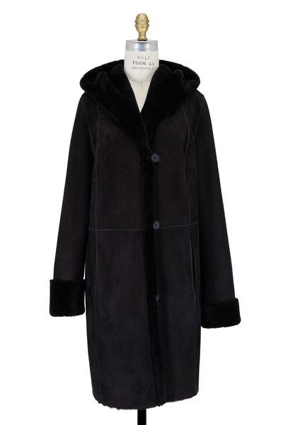 Viktoria Stass - Black Shearling Hooded Coat