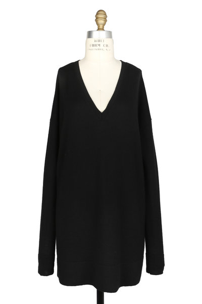 The Row - Amherst Black Cashmere & Silk V-Neck Sweater