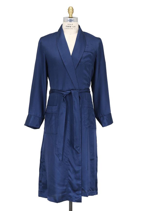 Derek Rose Navy Blue Striped Satin Silk Robe