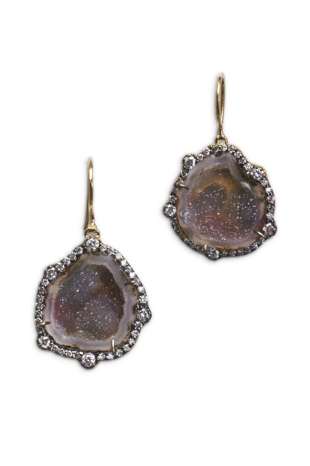 Yellow Gold Geode Irregular Diamond Earrings
