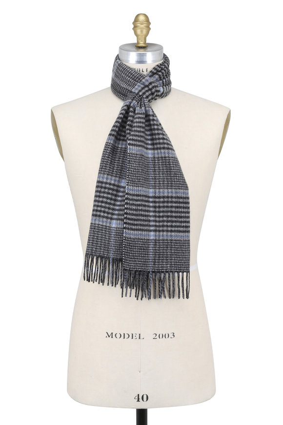 Chelsey Imports Gray & Light Blue Plaid Cashmere Scarf