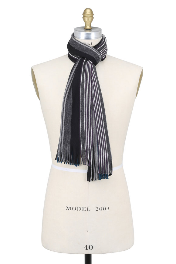 Chelsey Imports Gray Multi Striped Wool Scarf