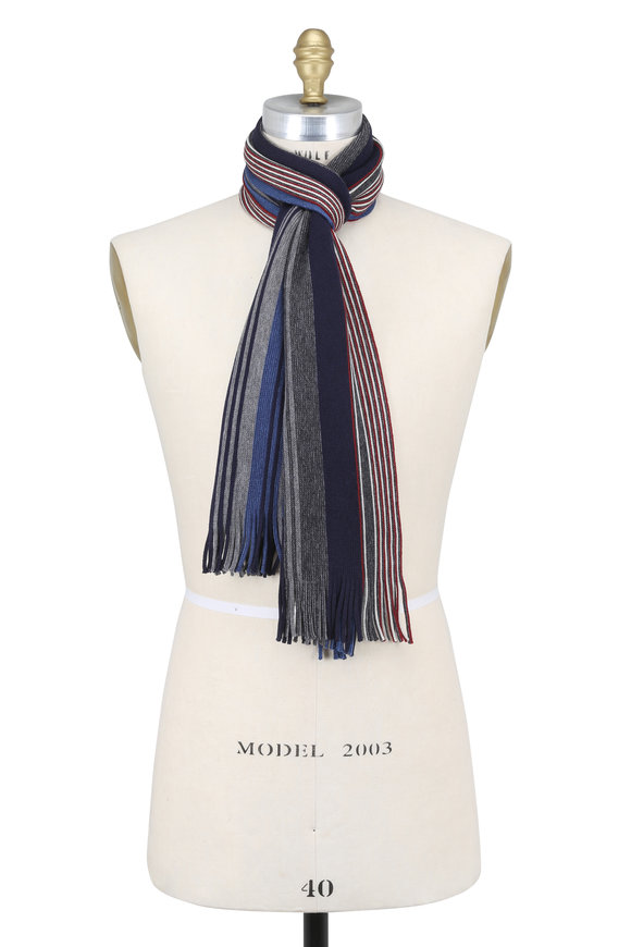 Chelsey Imports Blue Multi Striped Wool Scarf