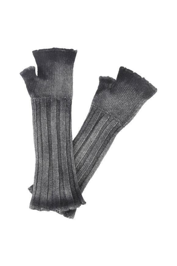 Avant Toi Gray Wool & Cashmere Fingerless Long Gloves