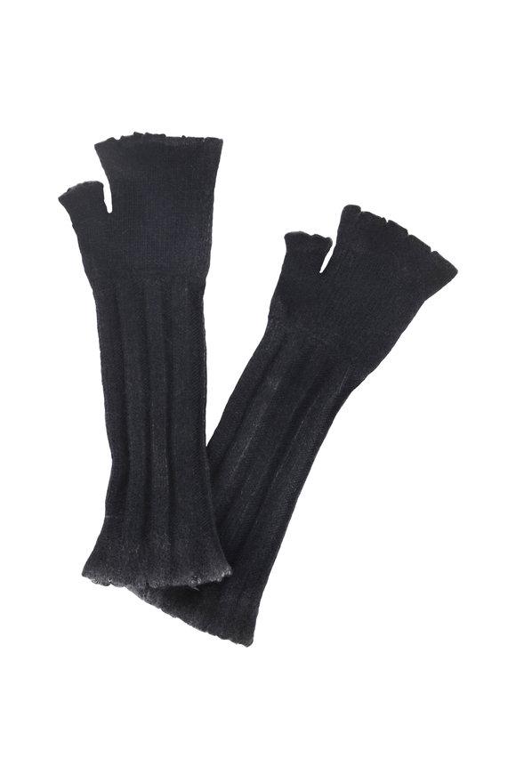 Avant Toi Navy Blue Wool & Cashmere Fingerless Long Gloves