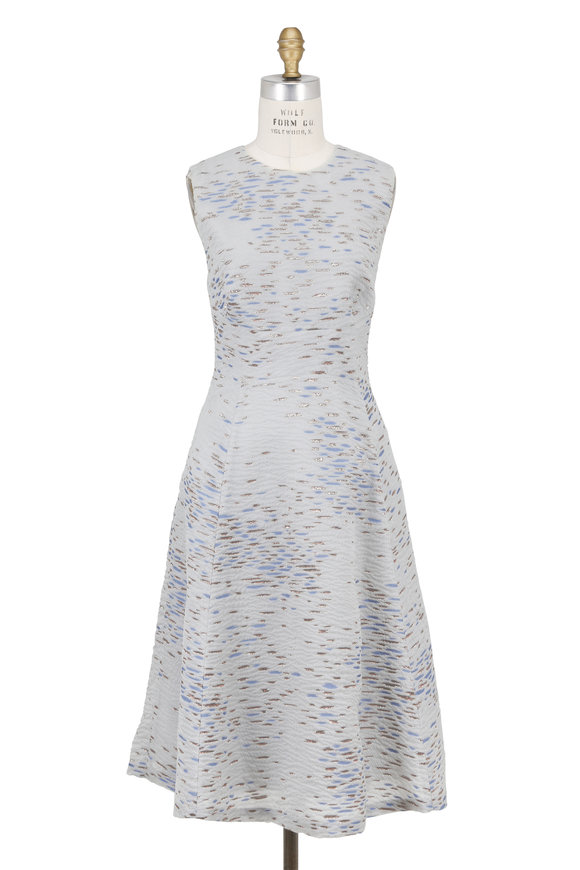 Lela Rose Light Blue Metallic Fil Coupe Sleeveless Dress