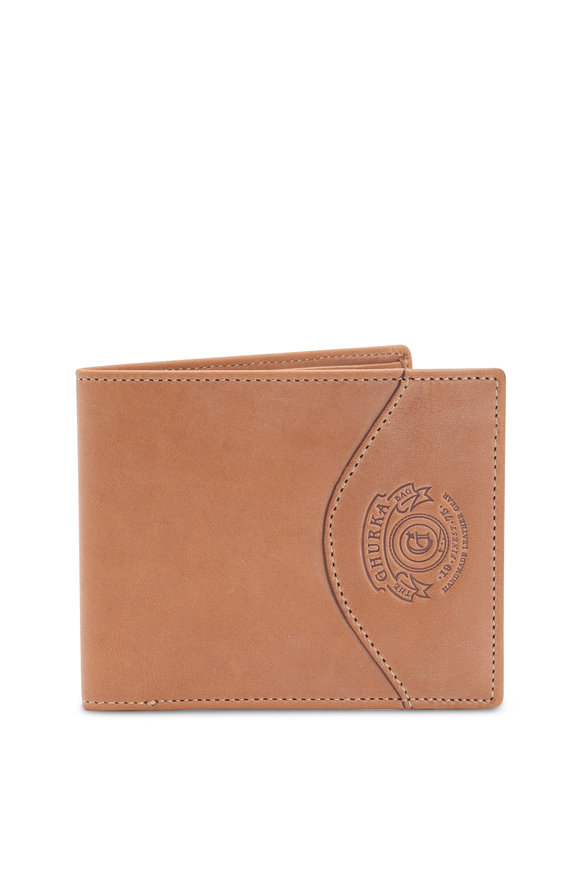 Ghurka Light Brown Leather Slim Classic Bi-Fold Wallet