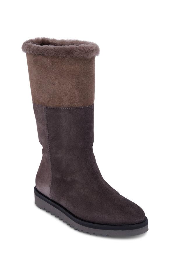 Aquatalia Paulina Graphite Suede Shearling Boot