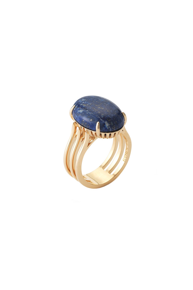 Yellow Gold Plate Cabochon Lapis Cocktail Ring