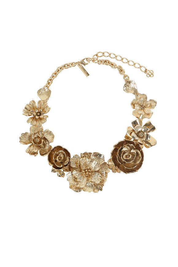 Oscar de la Renta Gold Bold Flower Necklace