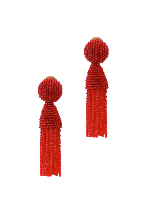 Oscar de la Renta Red Beaded Short Tassel Clip-On Earrings