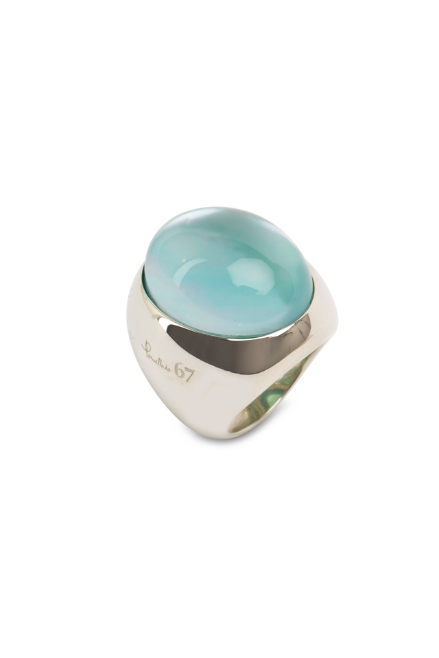 Sterling Silver Oval Aqua Quartz Ring