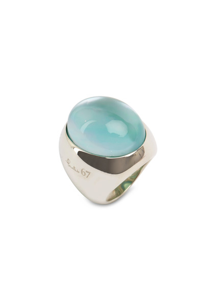 Pomellato - Sterling Silver Oval Aqua Quartz Ring