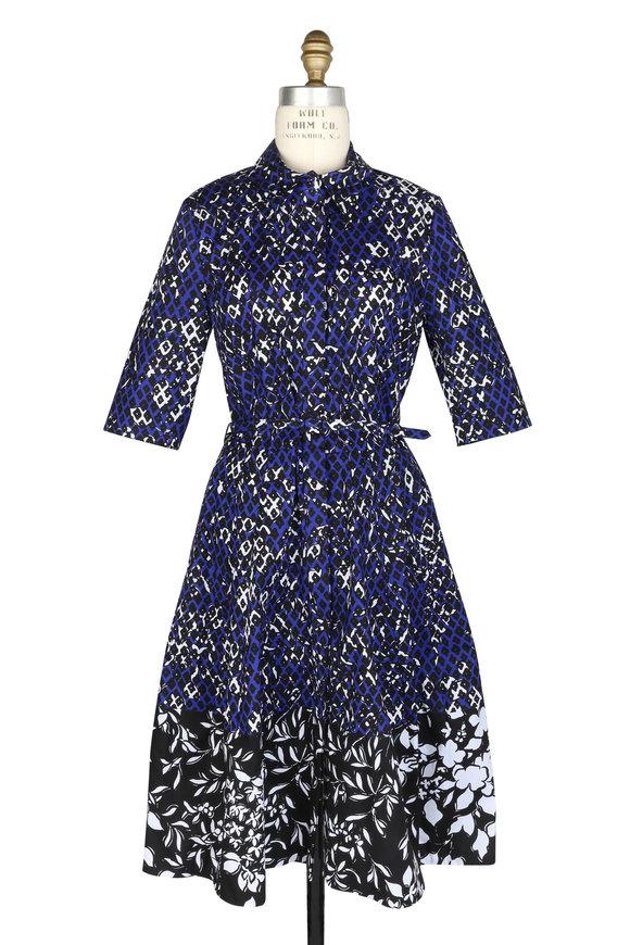 Oscar de la Renta Blue Abstract Floral Three-Quarter Sleeve Dress