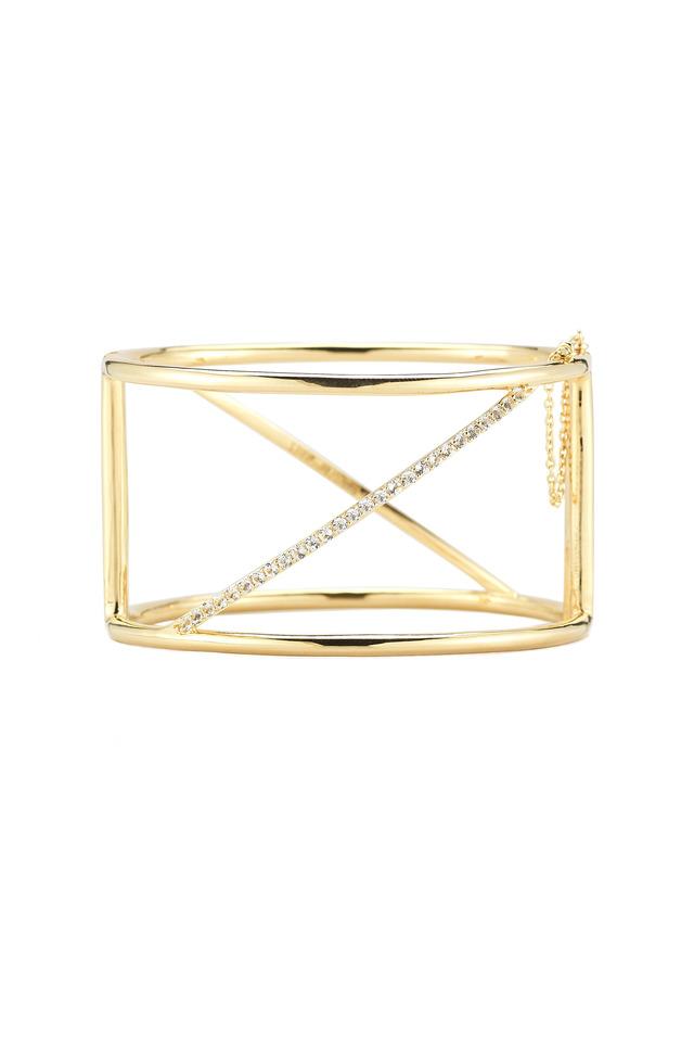 Bauhaus Gold Plate White Topaz Bar Cuff Bracelet