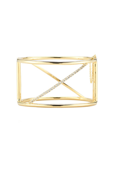 Elizabeth & James - Bauhaus Gold Plate White Topaz Bar Cuff Bracelet
