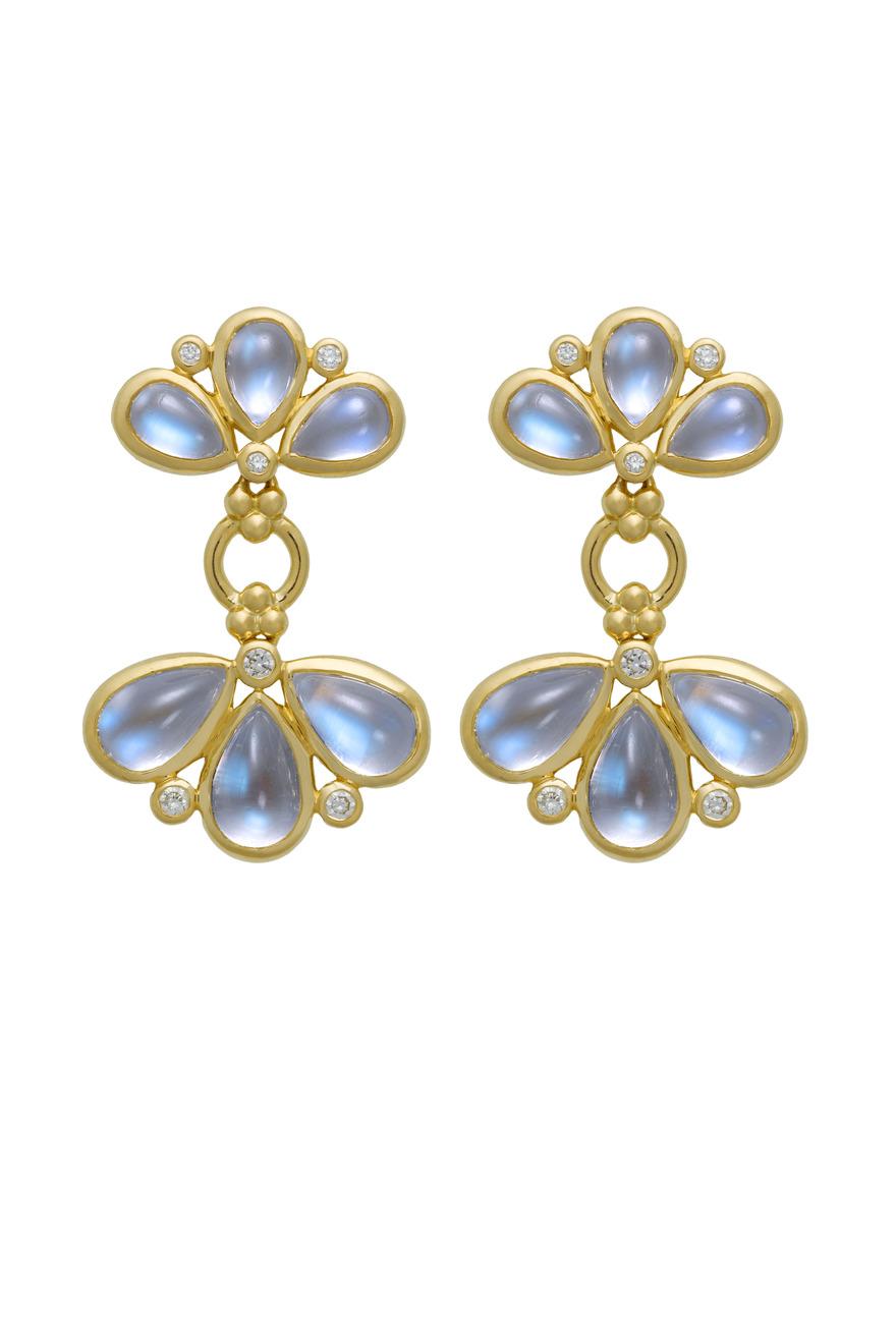 Blue Moonstone & Diamond Fan Earrings