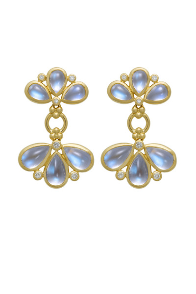 Temple St. Clair - Blue Moonstone & Diamond Fan Earrings