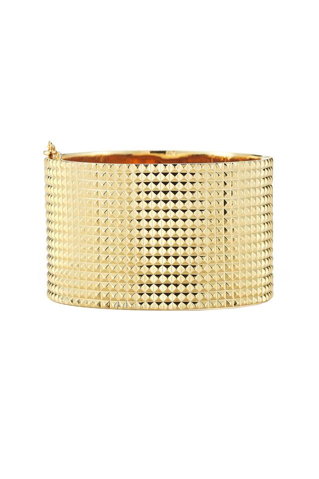 Bauhaus Textured Gold Plate Pyramid Cuff Bracelet