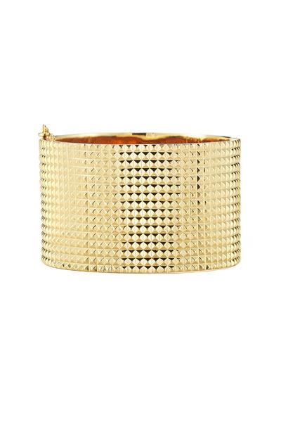 Elizabeth & James - Bauhaus Textured Gold Plate Pyramid Cuff Bracelet