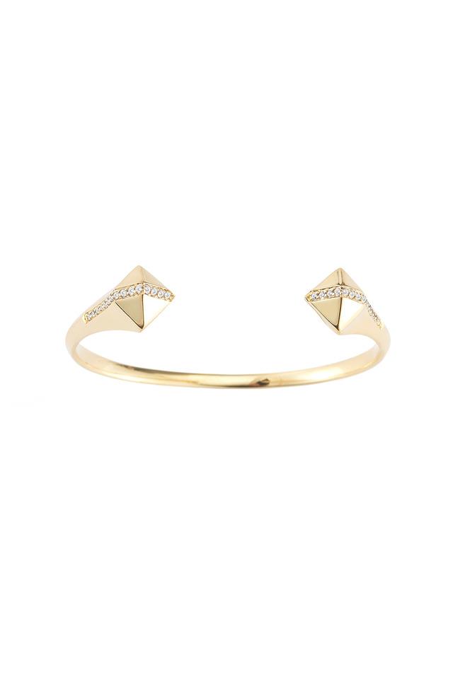 Bauhaus Gold White Topaz Pyramid Cuff Bracelet