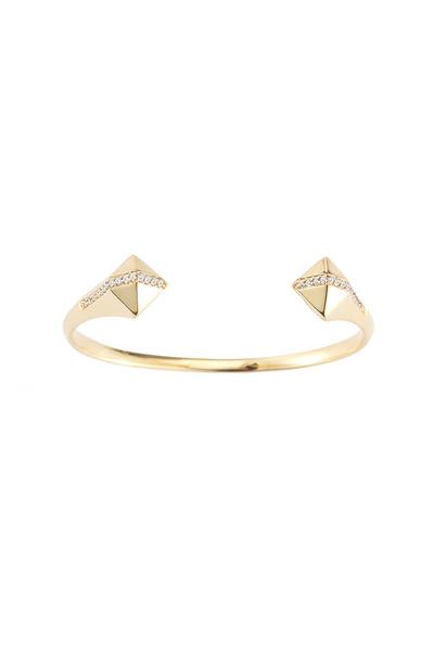 Elizabeth & James - Bauhaus Gold White Topaz Pyramid Cuff Bracelet