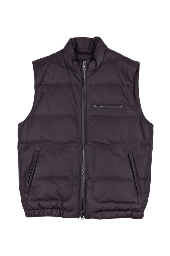 Vince Brown Leather Quilted Down Vest