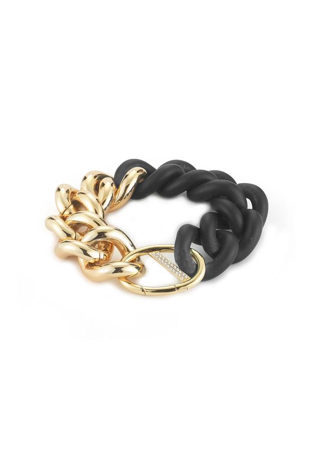 Bauhaus Gold & Rubber Topaz Chain Link Bracelet
