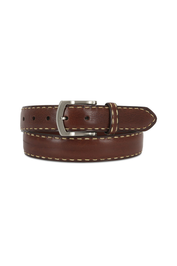 Torino Brown Leather Contrast Top-Stitch Belt