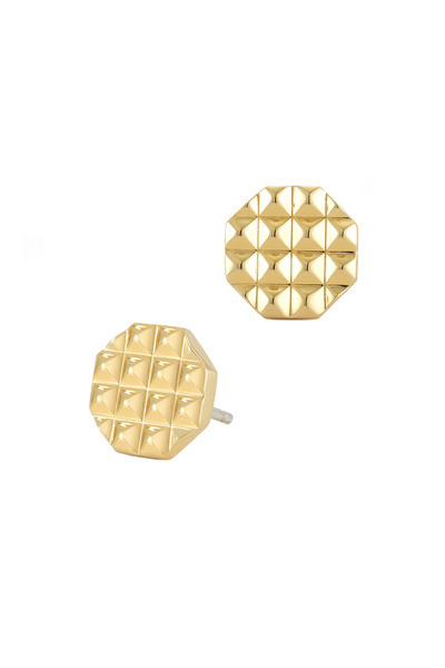 Elizabeth & James - Bauhaus Textured Gold Plate Pyramid Stud Earrings