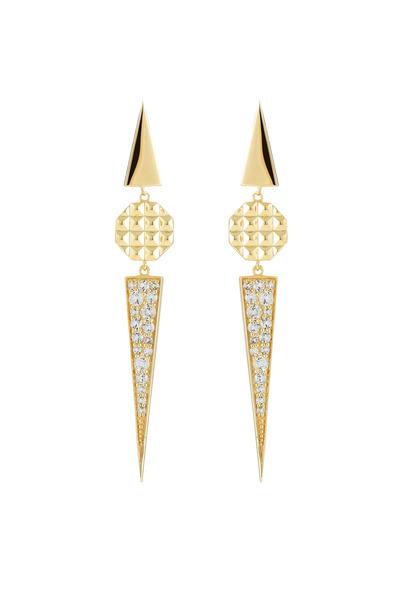 Elizabeth & James - Bauhaus Gold Plate White Topaz Triangle Earrings