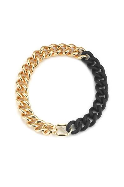 Elizabeth & James - Bauhaus Gold Plate & Rubber Chain Link Necklace