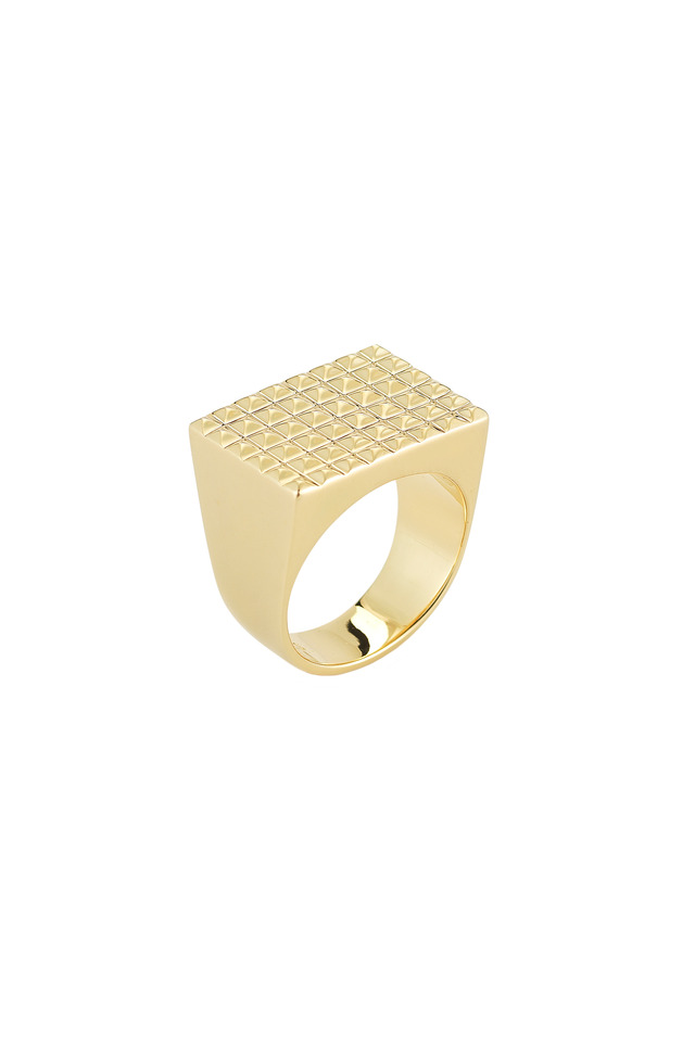 Bauhaus Textured Gold Plate Pyramid Ring