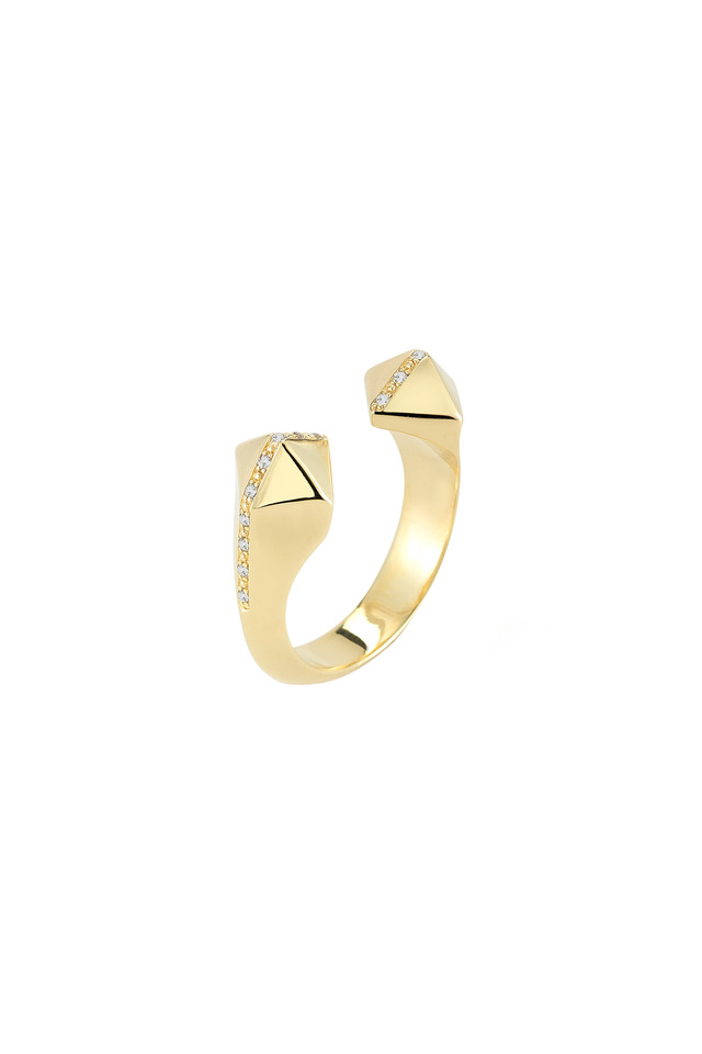 Bauhaus Textured Gold Plate Pyramid Ring