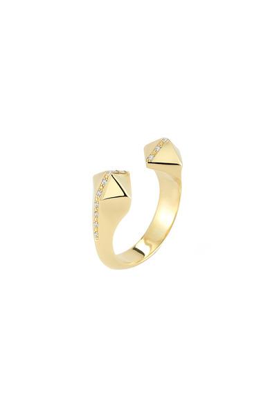 Elizabeth & James - Bauhaus Textured Gold Plate Pyramid Ring
